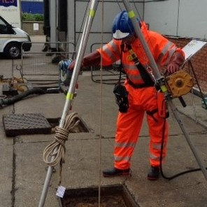 Top man at entrance to confined space